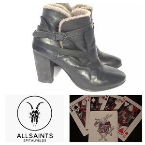All Saints Ankle Booties Leather Faux Fur 39 8.5